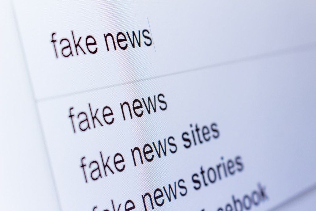 An internet search for information on fake news